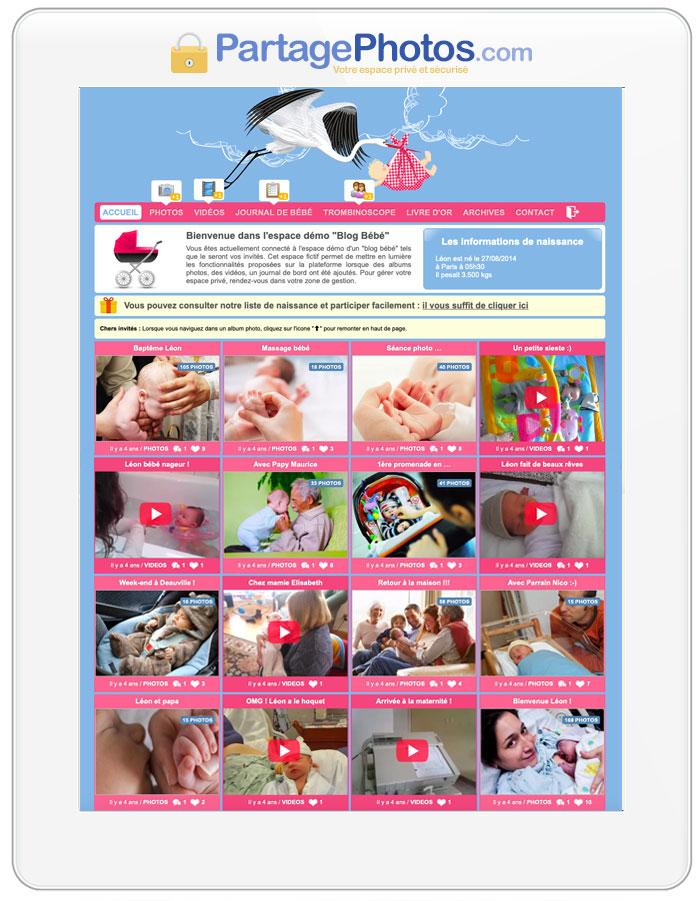 Votre espace photos et vidéos privé pour partager la naissance de votre bébé