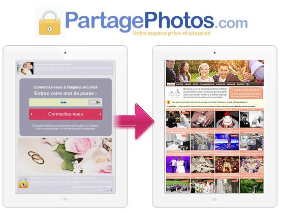 Partager des photos de famille pendant son mariage : tout est privé et sécurisé et seuls les invités peuvent accéder aux photos et aux vidéos