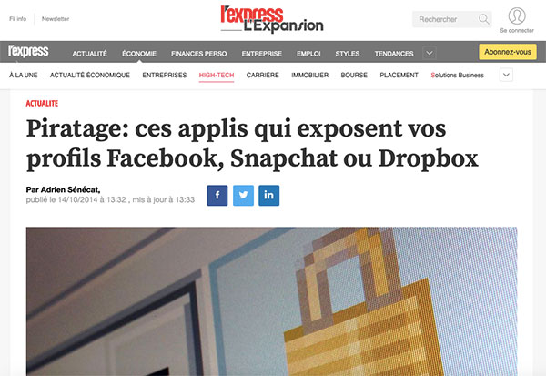 Facebook, Google photos, iCloud et d'autres, sont tous l'objet de piratages : les photos ou données personnelles publiées sur ces sites ne sont pas forcément en lieu sûr...