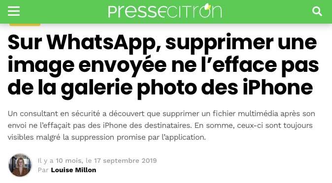 Article à lire sur presse citron à propos du partage photos sur WhatsApp