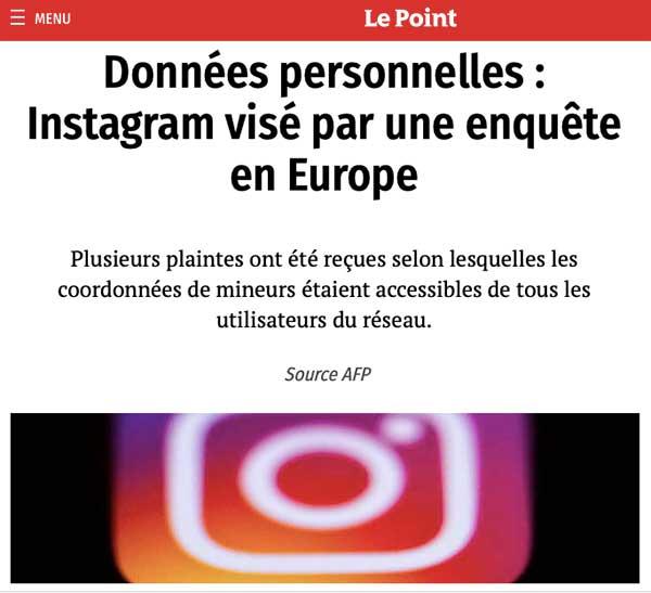 Les données personnelles sur Instagram sont soumises au même traitement que les autres filiales de Facebook