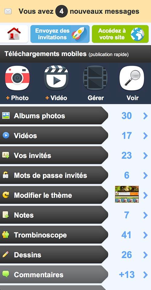 Sur mobile, sans application, Fammies permets de publier et de gérer ses invités facilement