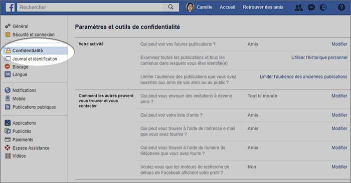 Les paramètres de confidentialité de Facebook proposent un large choix de configuration.
