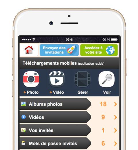 Vous pouvez créer des albums photos et ajouter des vidéos avec votre téléphone mobile, sans avoir à installer d'application.