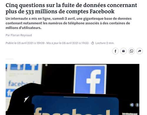 Le partage sur Facebook et les sites américains est dangereux et risqué...
